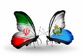Two Butterflies With Flags On Wings As Symbol Of Relations Iran And San Marino