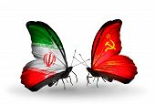 Two Butterflies With Flags On Wings As Symbol Of Relations Iran And Soviet Union