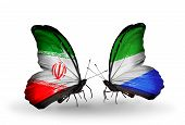 Two Butterflies With Flags On Wings As Symbol Of Relations Iran And Sierra Leone