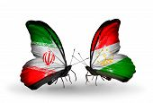 Two Butterflies With Flags On Wings As Symbol Of Relations Iran And Tajikistan