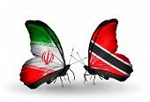 Two Butterflies With Flags On Wings As Symbol Of Relations Iran And Trinidad And Tobago