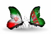 Two Butterflies With Flags On Wings As Symbol Of Relations Iran And Turkmenistan