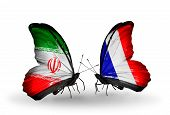 Two Butterflies With Flags On Wings As Symbol Of Relations Iran And France
