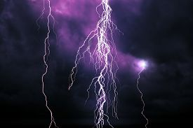 image of lightning-rod  - Lightning in front of a dramatic background - JPG