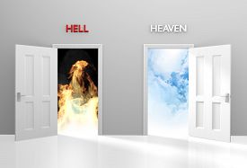 image of life after death  - Concept for spirituality and life after death with open doors leading to heaven or hell - JPG
