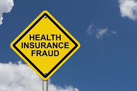 picture of warning-signs  - Health Insurance Fraud Warning Sign Yellow warning road sign with word Health Insurance Fraud with sky background - JPG