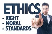 picture of ethics  - Business man pointing the text - JPG