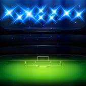 picture of spotlight  - Soccer stadium background with spotlight at night - JPG
