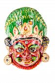stock photo of tantric  - colorful ethnic nepalese mask isolated over a white background - JPG