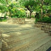 foto of cobblestone  - Garden view with trees white cobblestone patio and steps in summer resort - JPG