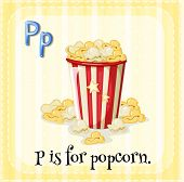 picture of letter p  - Flashcard letter P is for popcorn - JPG