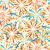 image of salute  - Seamless pattern with abstract fireworks and salute - JPG
