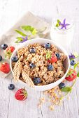 picture of fruit bowl  - bowl of muesli with berries fruits - JPG