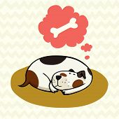 image of spotted dog  - Cute cartoon dog sleeping on the mat and dreaming about bone - JPG
