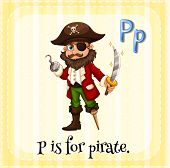 image of letter p  - Flashcard letter P is for pirate - JPG