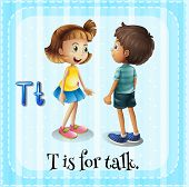 image of letter t  - Flashcard letter T is for talking - JPG