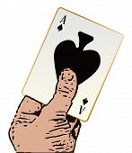 picture of ace spades  - A cartoon hand holding the ace of spades over a white background - JPG