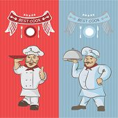 image of chinese menu  - Two chefs with a dish on your hands - JPG