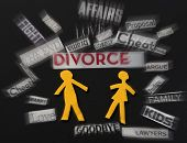picture of divorce-papers  - Paper marriage couple with divorce themed paper notes - JPG