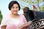 pic of mailbox  - Senior Hispanic Woman Checking Mailbox - JPG