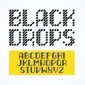 image of alphabet  - Black drops alphabet - JPG