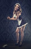 stock photo of up-skirt  - Vintage pin up maid - JPG