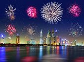 picture of firework display  - New Year fireworks display in Dubai - JPG