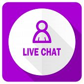 image of chat  - live chat pink flat icon 