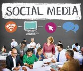 stock photo of socialism  - Social Media Social Networking Technology Connection Concept - JPG
