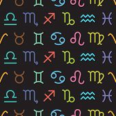 picture of horoscope  - Horoscope colorful symbols vector seamless pattern background illustration - JPG