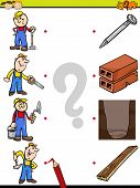 stock photo of brain-teaser  - Cartoon Illustration of Education Element Matching Game for Preschool Children with Workers and Tools - JPG