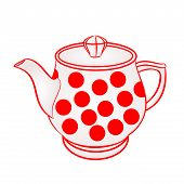 image of teapot  - Teapot with red dots part of porcelain vector illustration - JPG