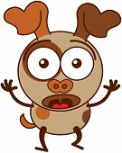 stock photo of dog eye  - Cute brown dog in minimalistic style with big hanging ears - JPG