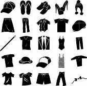 stock photo of platform shoes  - clothing shoes and accessories symbols set - JPG