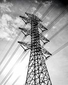 picture of utility pole  - wire of electricity high voltage pole and sky - JPG
