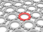 picture of leadership  - red gear among the gray on a white background - JPG