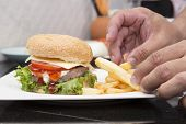 pic of hamburger  - Chef decorated Hamburger and French Freid  - JPG