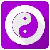 image of ying-yang  - ying yang pink flat icon   - JPG