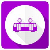 picture of tram  - tram pink flat icon public transport sign  - JPG