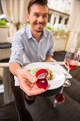 pic of propose  - Man making proposal with the ring to his girlfriend at the restaurant - JPG