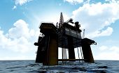 foto of  rig  - A regular view of an oil rig out at sea on a blue cloudy sky background - JPG