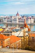 stock photo of hungarian  - View of Hungarian Parliament and part of the city from Buda Hill - JPG