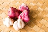 stock photo of red shallot  - garlic and red onion for cooking texture background - JPG