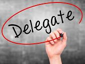 picture of mandates  - Man Hand writing Delegate black marker on visual screen - JPG