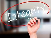 foto of integrity  - Man Hand writing Integrity black marker on visual screen - JPG