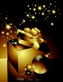 picture of welts  - Gold and black Merry Christmas background with stars - JPG