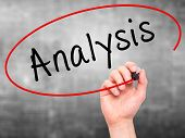picture of analysis  - Man hand writing Analysis with marker on visual screen - JPG