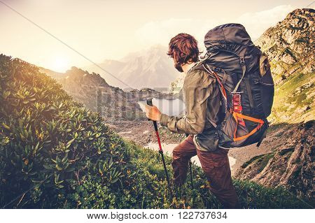poster of Man Traveler with backpack mountaineering Travel Lifestyle concept lake and mountains on background Summer expedition vacations outdoor