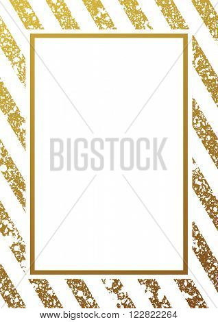 Gold glitter background. Border and gold frame. Gold lines pattern white background. Gold diagonal l