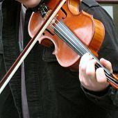 Busker playing violin